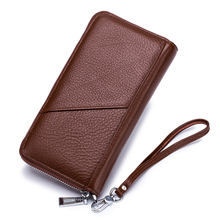 Guaranteed 100% Genuine Leather Men Wallets Multi-Card Bit Zipper Purse With Hand Rope Brand Famous Long Business Card Wallets comforskin luxurious 100% genuine leather multi card bit woman zipper purses famous brand long large capacity women s wallets