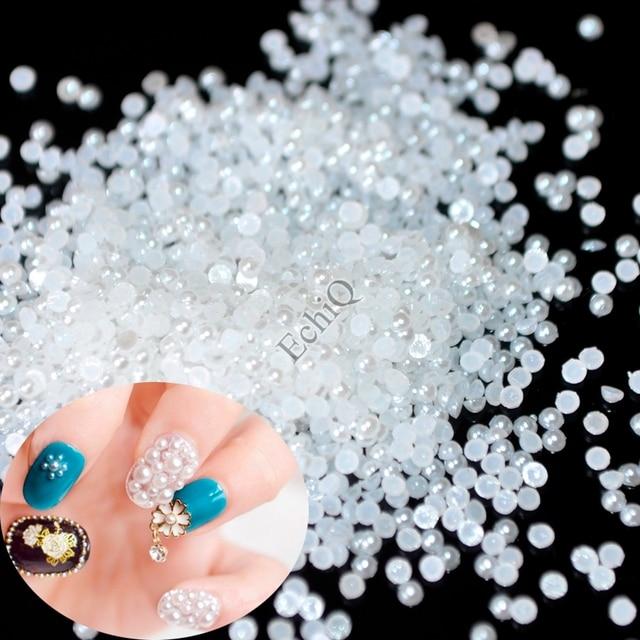 1lot=1000pcs 1.5mm White Nail Art Pearls Small Flatback 2mm 3mm Off ...