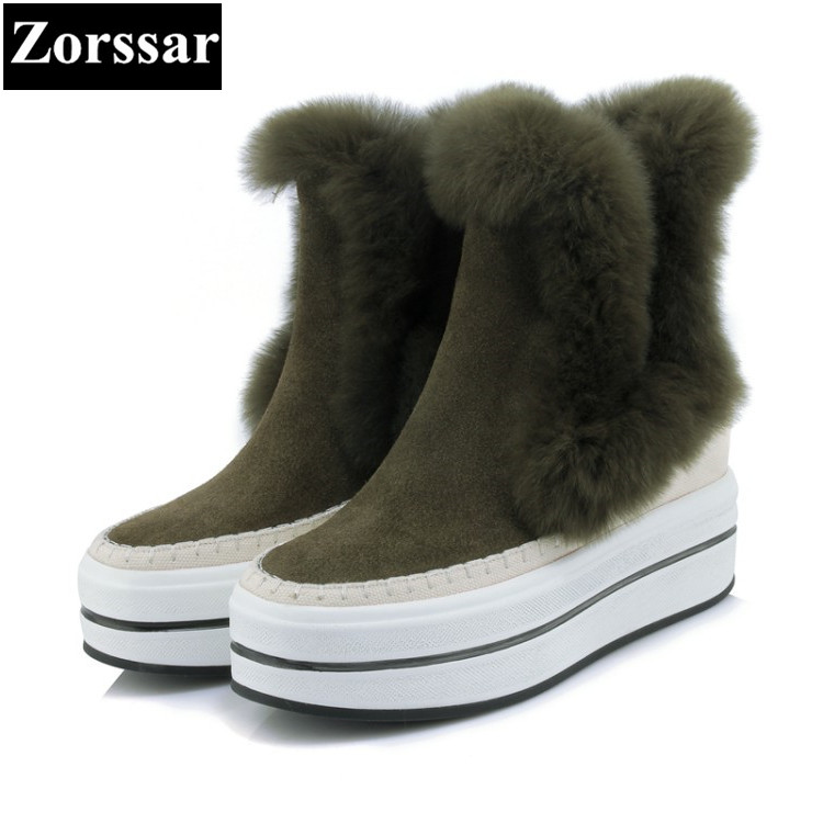 {Zorssar} 2017 NEW Classic winter Plush Women Boots Suede Ankle Snow Boots Female Warm Fur women shoes wedges platform shoes esveva casual winter women shoes warm fur lace up snow boots wedges heel platform ankle boots black white plush fashion boots