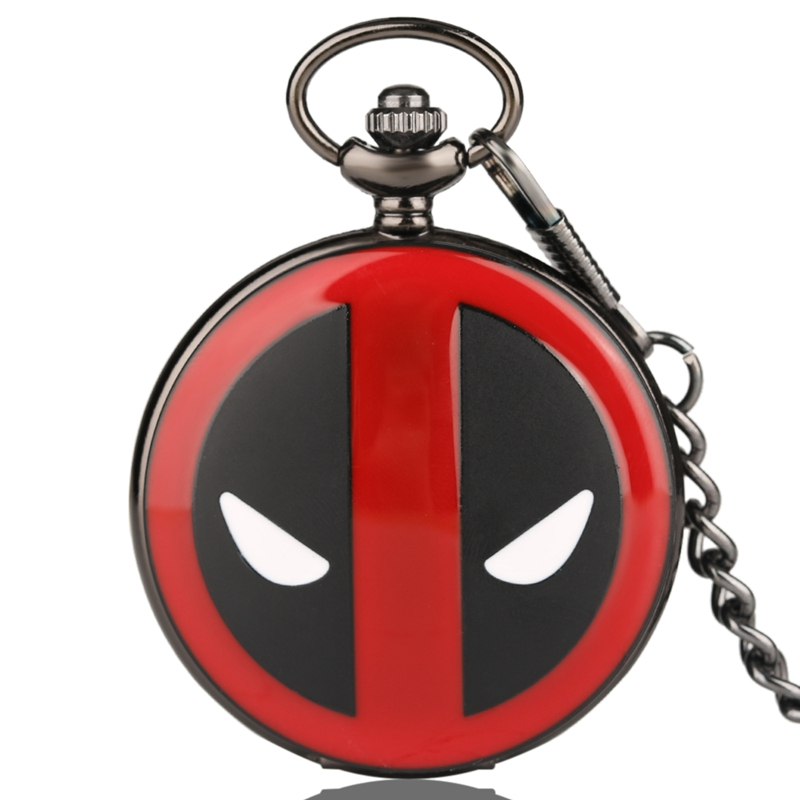 Fashion Cool Deadpool Animation Cartoon Quartz Pocket Watch Vintage FOB Chain Jewelry Clocks Best Gift For Men Women Boys Girls