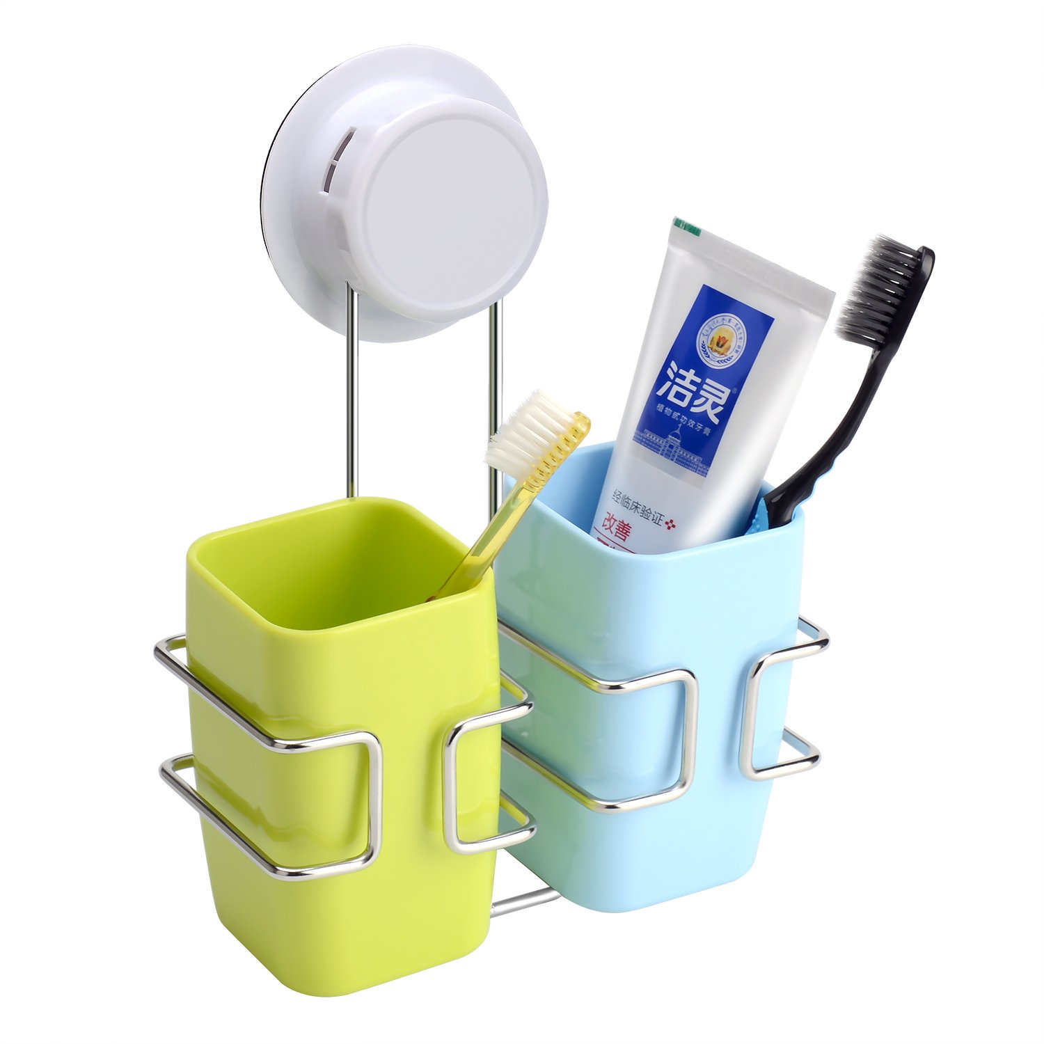 Toothbrush Holder Wall Mounted Stainless Steel Bathroom Holder Set Modern Large Capacity Toothpate Stand - Couple's Design image