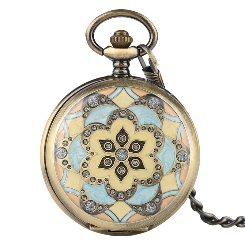 Mechanical Pocket Watches Crystal Pendant for Women Lady Girls Gifts Hand Winding Nurse Watch Pretty Flower Case with Fob Chain