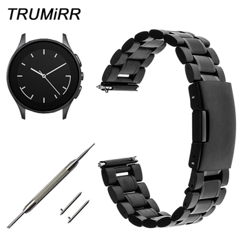 22mm Quick Release Watchband for Vector Luna / Meridian Smart Watch Band Stainless Steel Strap Link Bracelet Black Silver + Tool