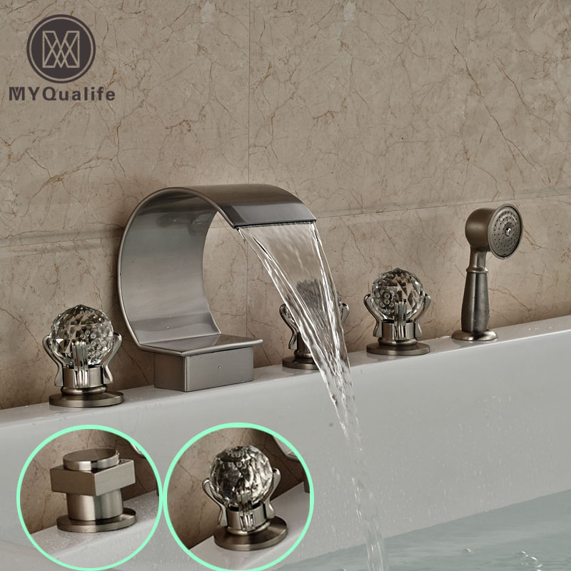 цена на Brushed Nickel 5pcs Deck Mount Bathtub Faucet Widespread Waterfall Spout Bath Tub Mixer Filler with Handshower