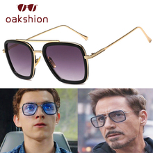 oakshion Luxury Fashion Square Flight Sunglasses Men Retro Brand Design Metal Frame Mens Driving Sun Glasses Male UV400 Oculos
