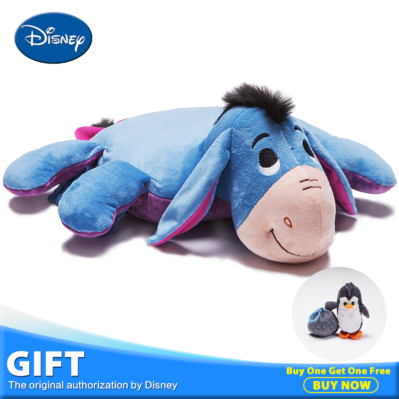 Disney Eeyore Plush Stuffed Toy Doll Children's Rest Warm Blanket Playing Lying Pillow Cushion Quilt Toys Peluches Kids Gifts disney master car children plush toy peluches stuffed doll with rest blanket kids pillow cushion toys christmas birthday gifts