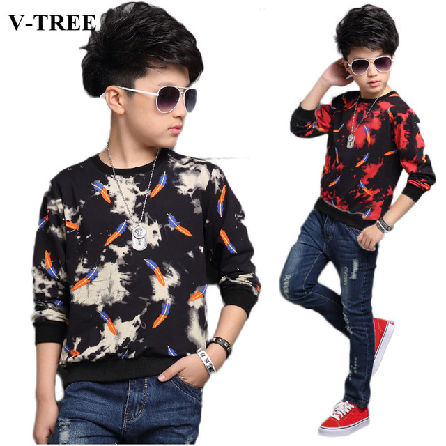 92f28bda3 V-TREE Boys Shirts Feather T-shirt For Boys Teenager Children Sweatshirt  4-14 Age Kids Top Boys Designer Clothing