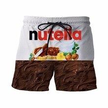 Neue Nutella Kurze Hosen Köstlichen Schokolade Sauce Drucke 3D Shorts Herren Hipster Strand Shorts Herren Streetwear Board Shorts