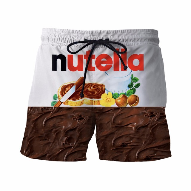 New Nutella Short Pants Delicious Chocolate Sauce Prints 3D Shorts Mens Hipster Beach Shorts Mens Streetwear Board Shorts
