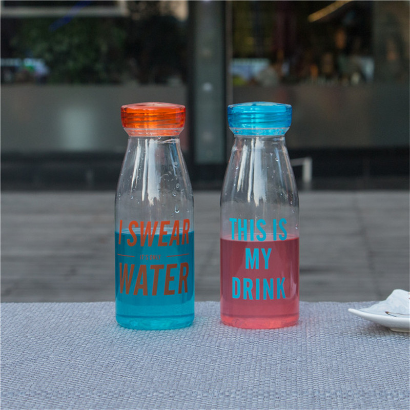 Fashion Creative Bottle With Letters Unbreakable Water Bottle Plastic Portable Sports Bottle 550 ml