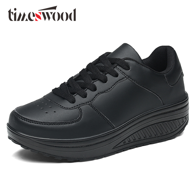 2018 New Arrival Women Shoes Big Size Breathable Black Classic Casual Fashion PU Leather Height Increase Ugged Sapatos Mulher 2017 free shipping new arrival traditional tavas women colors casual shoes breathable max size 36 42 black white superstar