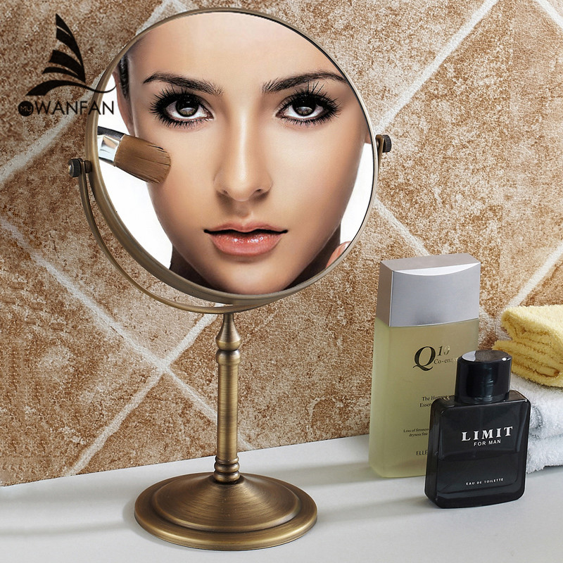 Bath Mirror Makeup Magnifier Mirrors 1:1 And 1:3 360 Rotate Double Faced Cosmetic Mirror of Bathroom Desktop Mirrors 728F bakala dual makeup mirrors 1 1 and 1 3 magnifier copper cosmetic bathroom double faced bath mirror wall mirror br 6738