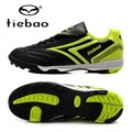 TIEBAO Professional Boys Girls Football Soccer Shoes Black Football Game Trainers TF Turf Soles Sneakers For Kids Teenagers