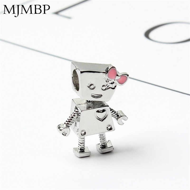 24スタイル新しいロボットレトロチャームニースビーズフィットpandoraa diyのギフト用ヴィンテージブレスレット&ネックレスジュエリー作り女性ギフト