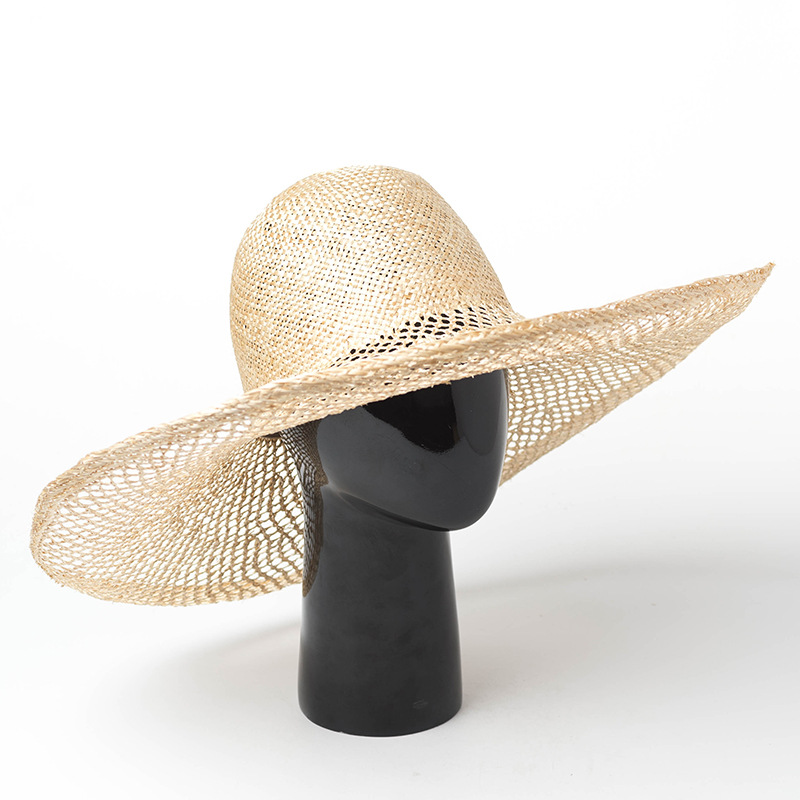 01903 hh7250 summer photographed model Hand made hollow out weaving sisal leisure beach lady cap men