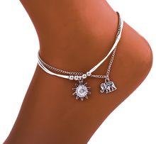 Prata antigo cor boho étnico pé corrente tornozelo pulseira sol elefante corda tornozeleira halhal verão praia jóias tobilleras mujer