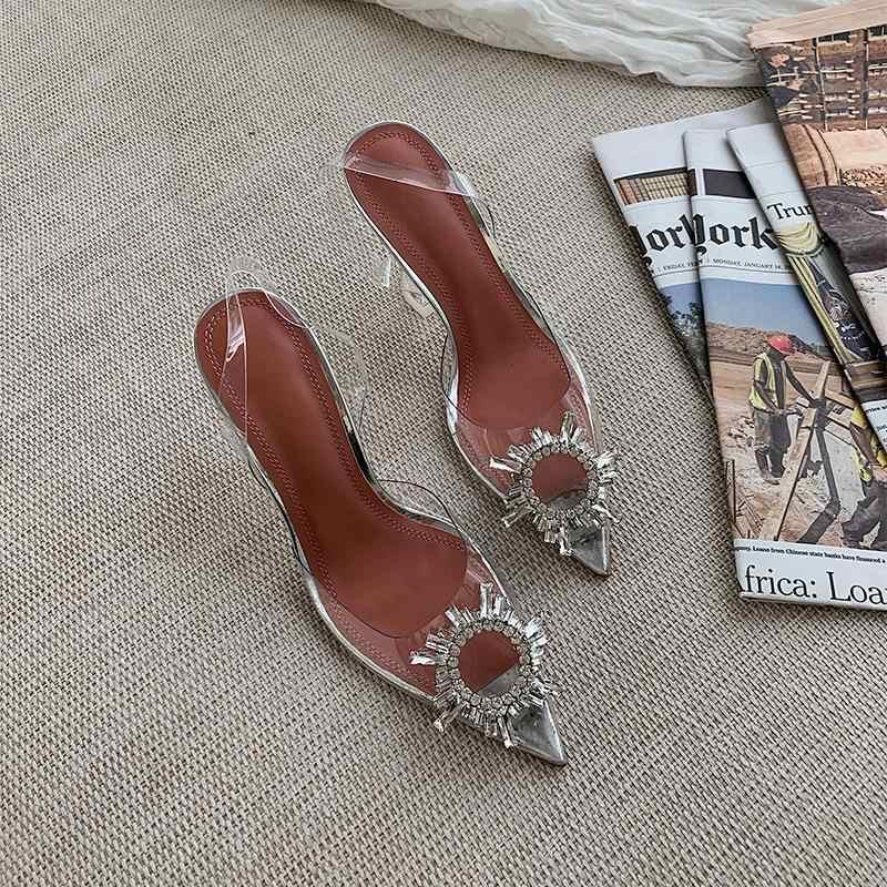 Prova Perfetto острый носок женские сандалии со стразами; Прозрачный каблук; обувь из чистого ПВХ чашки каблук с ремешком сзади для отдыха; Sandalias Mujer; большие размеры