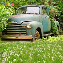 Yeele Vintage Truck Flower Planter Grassland Scenic Photography Backgrounds Summer Photographic Backdrop for Photo Studio 10x10ft 3x3m scenic muslin backgrounds photography photo studio backdrops hand painted flower muslin backdrop wedding