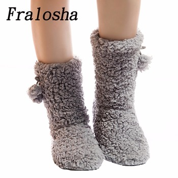 FRALOSHA Dropshipping Thick Plush Warm Indoor slippers  Women's Cotton-padded Shoes Non-slip Soft Bottom Home Shoes slippers