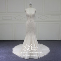 Wedding Dress 2018 V Neck Bridal Gown Beaded Court Train Wedding Dresses Custom Made Robe De Mariage Vestido de Noiva