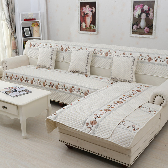 Polyester Corner Sofa Covers Quilt Couch Blankets Antiskid Slipcover ...