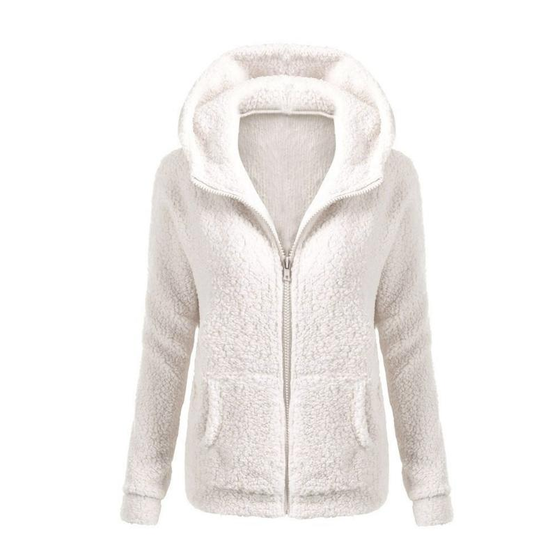 Women Solid Color Coat Thicken Soft Fleece Winter Autumn Warm Jacket Hooded Zipper Overcoat Female Fashion Casual Outwear Coat