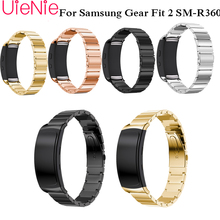 все цены на Stainless steel strip watch band for Samsung Gear Fit 2 pro band wrist strap butterfly buckle for Gear Fit2 SM-R360 smart watch онлайн