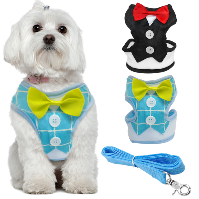 Bowtie Dog Harness With Walking Leash Tuxedo Puppy Vest For ...
