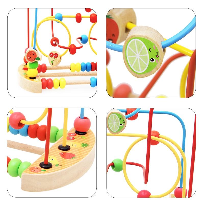 Купить с кэшбэком Kidus Wooden Math Toy Counting Circles Bead Abacus Wire Maze Roller Coaster Montessori Educational for Children