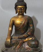 12 «Тибет Фиолетовый Бронзовый Золото Перегородчатой Эмали Шакьямуни Будда шакьямуни Статуя