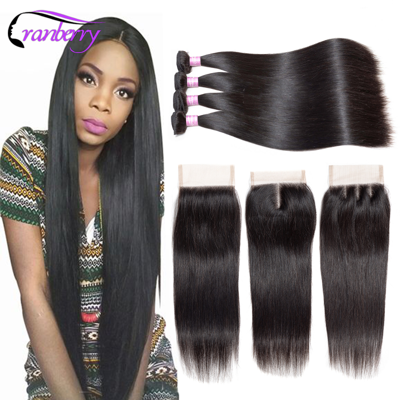 CRANBERRY Peruvian Straight Hair Bundles With Closure 4Pcs lot Remy Hair Extensions Peruvian Human Hair Bundles