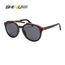 SHINU Marca gafas de Sol Mujeres Hombres Gafas Retro Hecho A Mano de Madera Gafas de Sol Gris Lente Polarizada Gafas Gafas de sol Gafas De Sol de Verano 73015