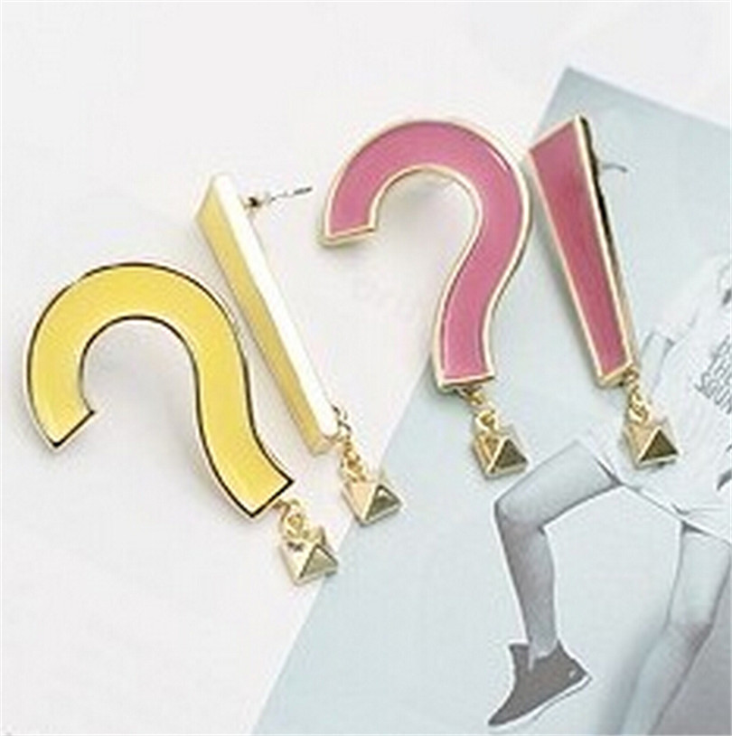 Fashion big asymmetric epoxy question mark exclamation point Stud Earrings 8ED229 ...