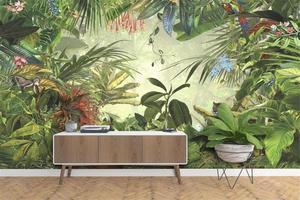 Обои на заказ, Европейский ретро стиль, ручная роспись, тропический лес, подорожник, тигр, попугай, настенная ТВ картина, фон, 3d обои