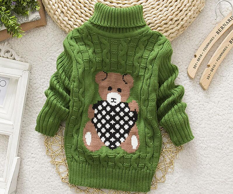 2018 Winter Girls Warm Sweaters Boys Thick Knitted Turtleneck Sweaters Baby High Collar Pullover Cartoon Bear Sweater Kids Coats 3