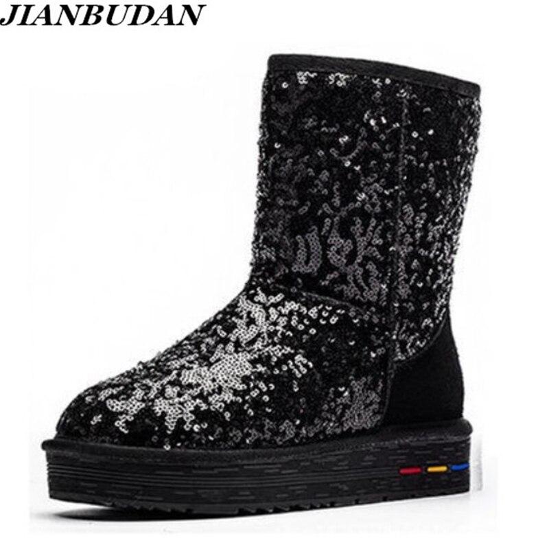 Роскошные высококачественные кожаные противоскользящие Сапоги блестками теплая обувь на снежную погоду Женские зимние кожаные ботинки ... ...