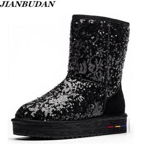 Image 1 - Botas de algodón de felpa de cuero genuino para mujer, botas cálidas de nieve de piel de vaca con lentejuelas, zapatos cálidos de cuero para invierno, 35 40, novedad de 2020