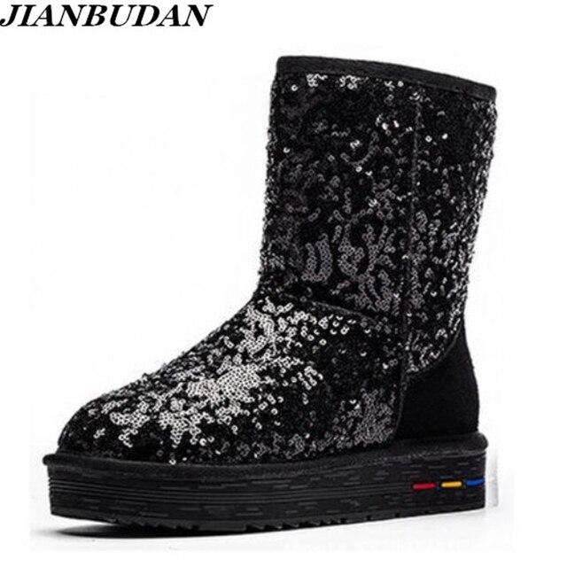Botas de algodón de felpa de cuero genuino para mujer, botas cálidas de nieve de piel de vaca con lentejuelas, zapatos cálidos de cuero para invierno, 35 40, novedad de 2020