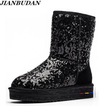 Luxury high quality leather anti-skid boots, sequins warm snow shoes, womens winter boots