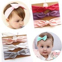 Conjunto de 3 unidades de Diadema con lazo para bebé, Orejas de conejo elásticas, venda del pelo para niña, turbante para niños pequeños, accesorios para el cabello para bebé