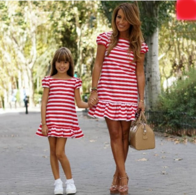 318016fec944 Family Matching Dress Outfit Mother Daughter Women Girls Stripes Ruffles  Casual Party Dress Red Mini Dresses Summer