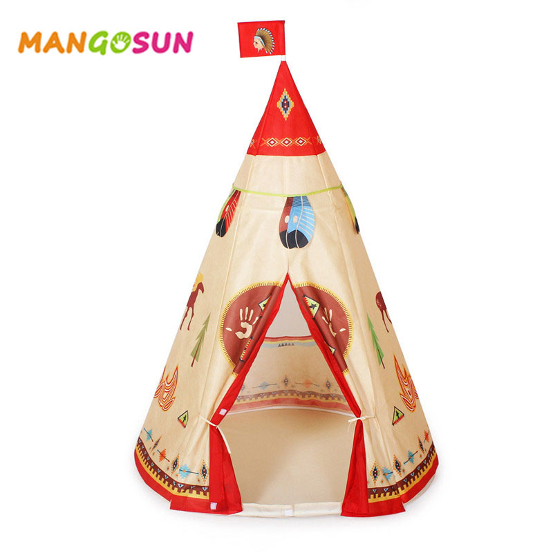 Foldable Kids Teepee Tent Children Indian Tents Enfant Playhouse for Kids Indoor Outdoor Sports Game yard indian pattern children toy tent teepees safety tipi portable playhouse kids teepee tents