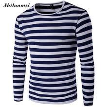 Herren T-shirts Mode 2016 Beiläufige Langhülse Gestreift Slim Fit Baumwolle t-shirt männer marke clothing mann top t-shirt homme 4xl 5XL