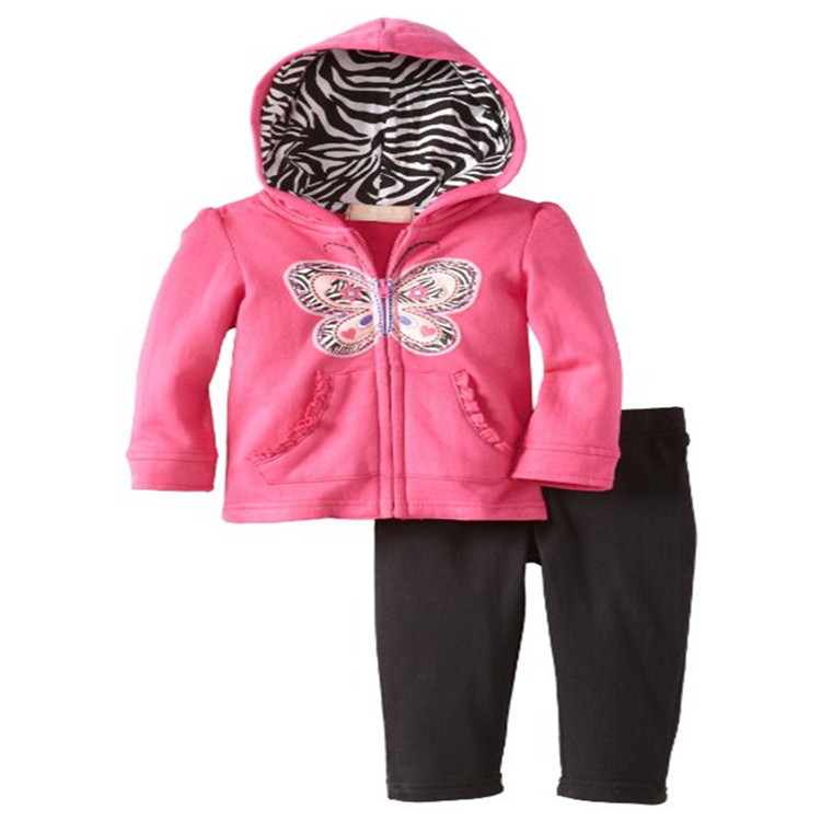New autumn winter Girl clothing set Kids casual 2pcs clothes suit Lovely Butterfly pattern hoodie toddler girls Fleece clothes baby boy girl clothing set toddler clothes autumn cartoon tracksuits kids sport suit set coat pant 2pcs casual cardigan coats