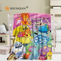 New arrival Custom adventure time Travel Blanket Home TV Casual Relax for Family Soft Fluffy Warm Blanket 40X50 50X60 58X80