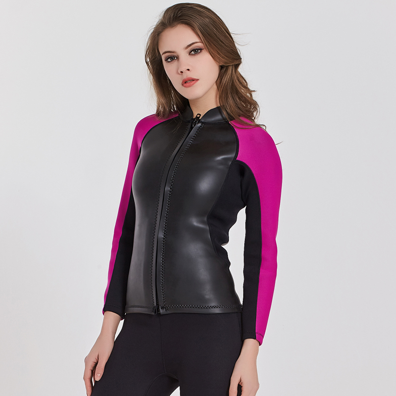 Sbart Women s 2mm Wetsuits Jacket Long Sleeve Neoprene Wetsuit Top Front  Zip Diving Snorkeling Surfing Kayaking Canoeing Pink-in Wetsuit from Sports  ... feb28c413