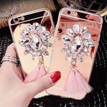 For iPhone 5 5S 6 6S 7 Plus Luxury Diamond Rhinestone Flower Tassels Mirror Soft TPU case cover Crystal Phone case Shell