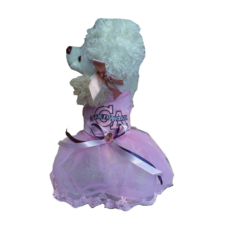 Pink Dog Dress Blue Party Tutu Harness Formal Medium Large XL XXL Rhinestones Stone Decor Skirt Lace Fabric Dog Clothes Puppy