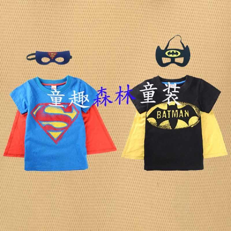 2017 nuovo ragazzo dal puro cotone manica corta T-Shirt con superman, batman cape estate indossare una maschera per gli occhi