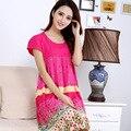 Women Summer short-sleeve modal nightgown cotton fashion sleepwear o-neck dress sleep skirt plus size plus free shipping